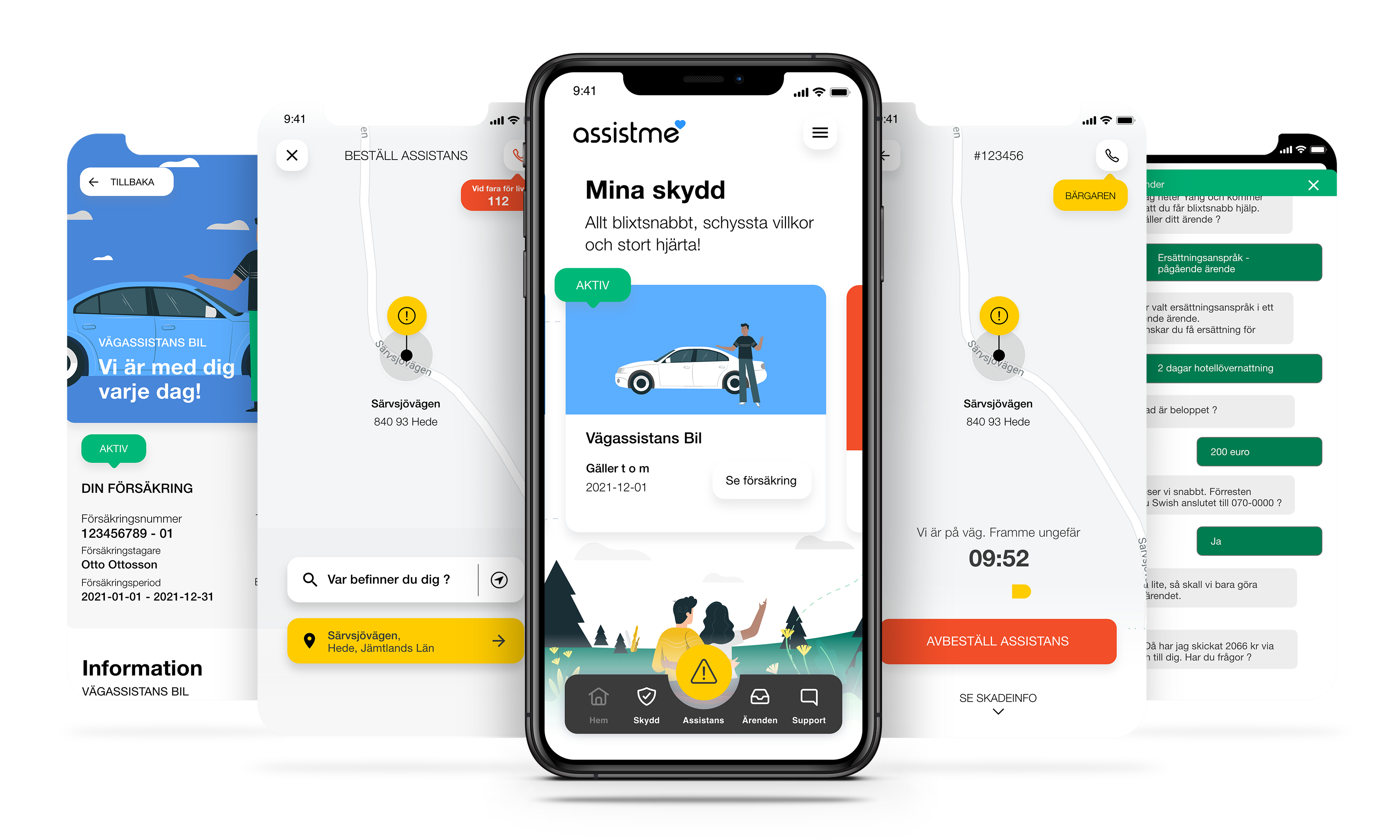5 smartphone mockups assistme app