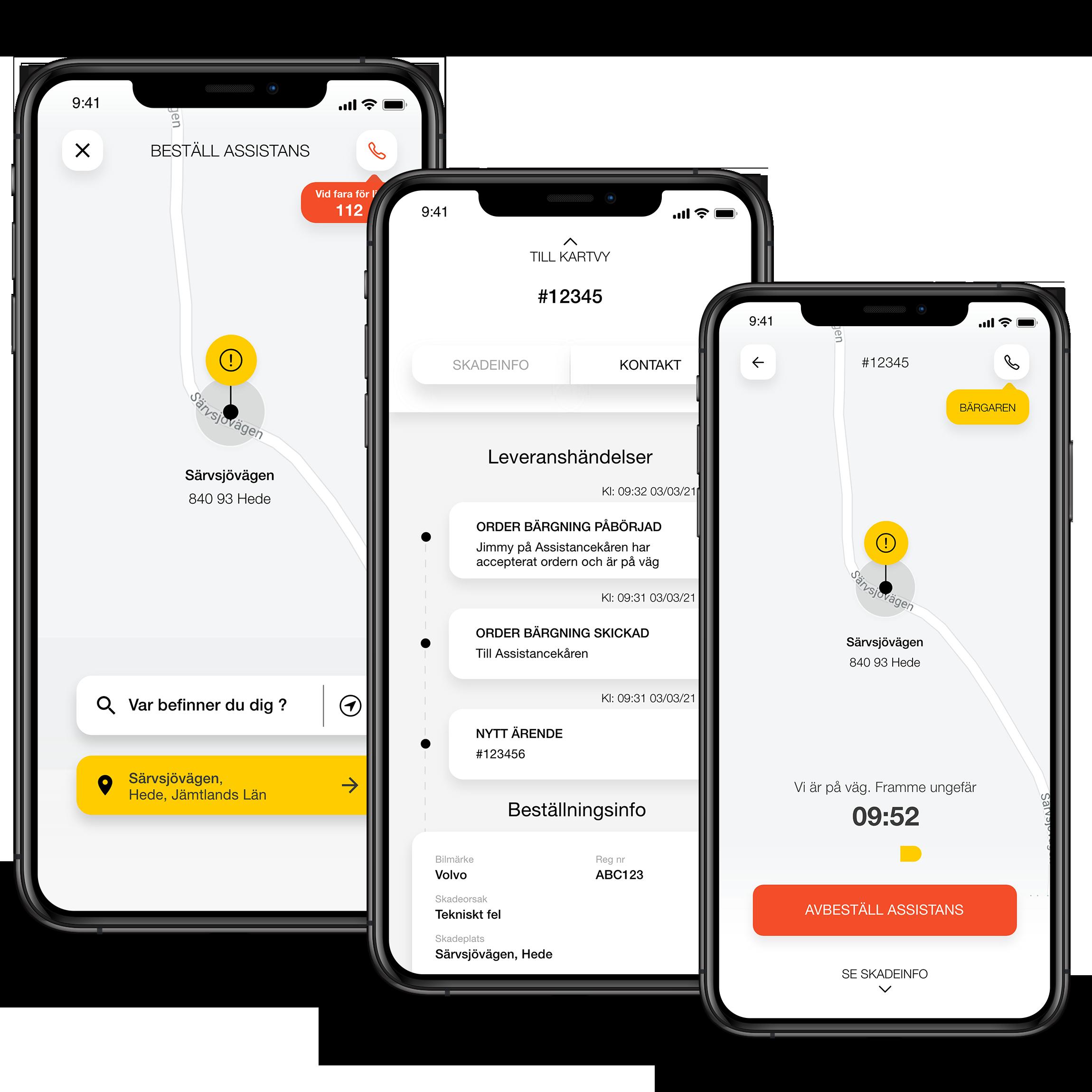 AssistMe app mockup 3 smartphones order assistance