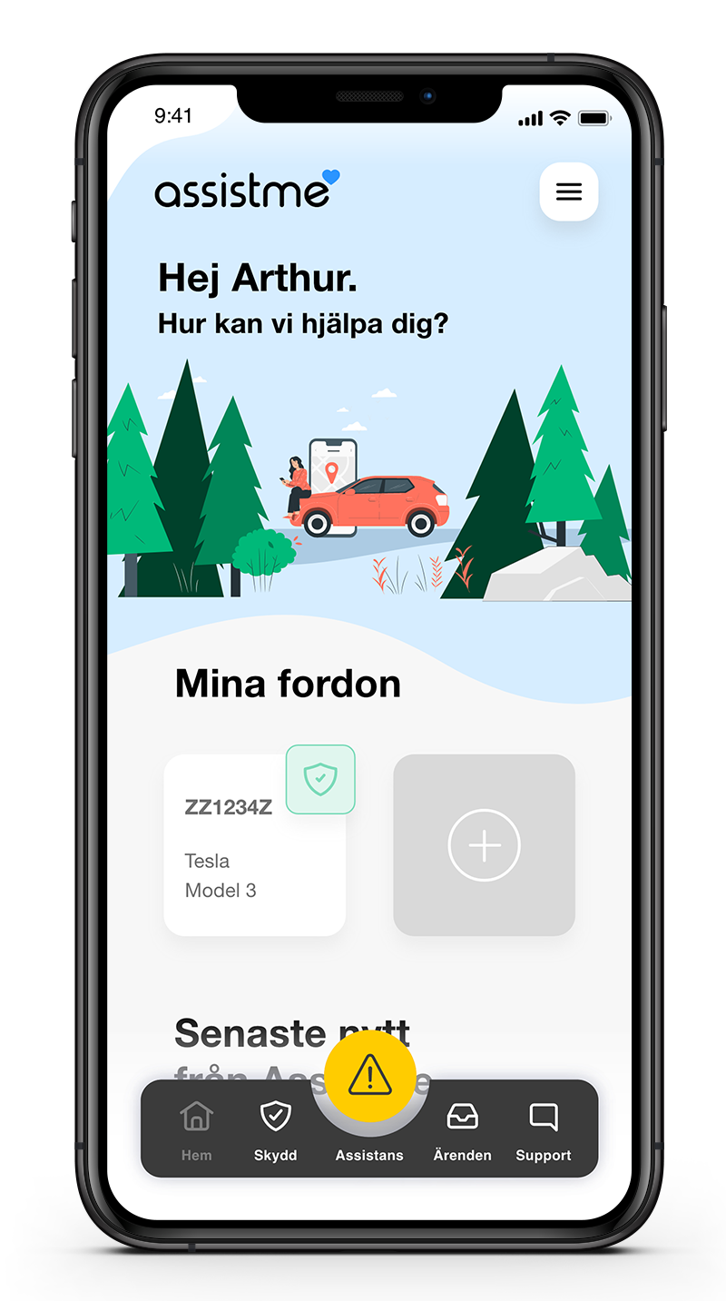 AssistMe app - main page