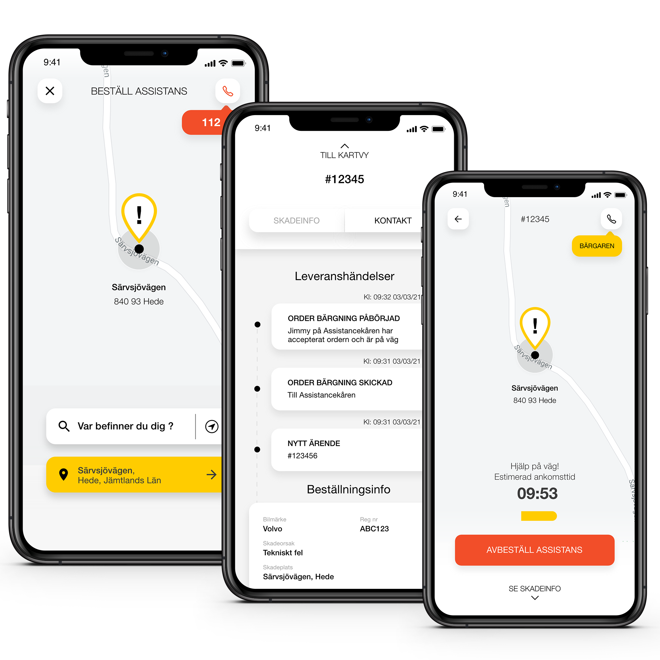 Mockups order assistance in the AssistMe app