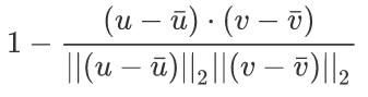 Correlation Equation: u and v are the vectors to be compared