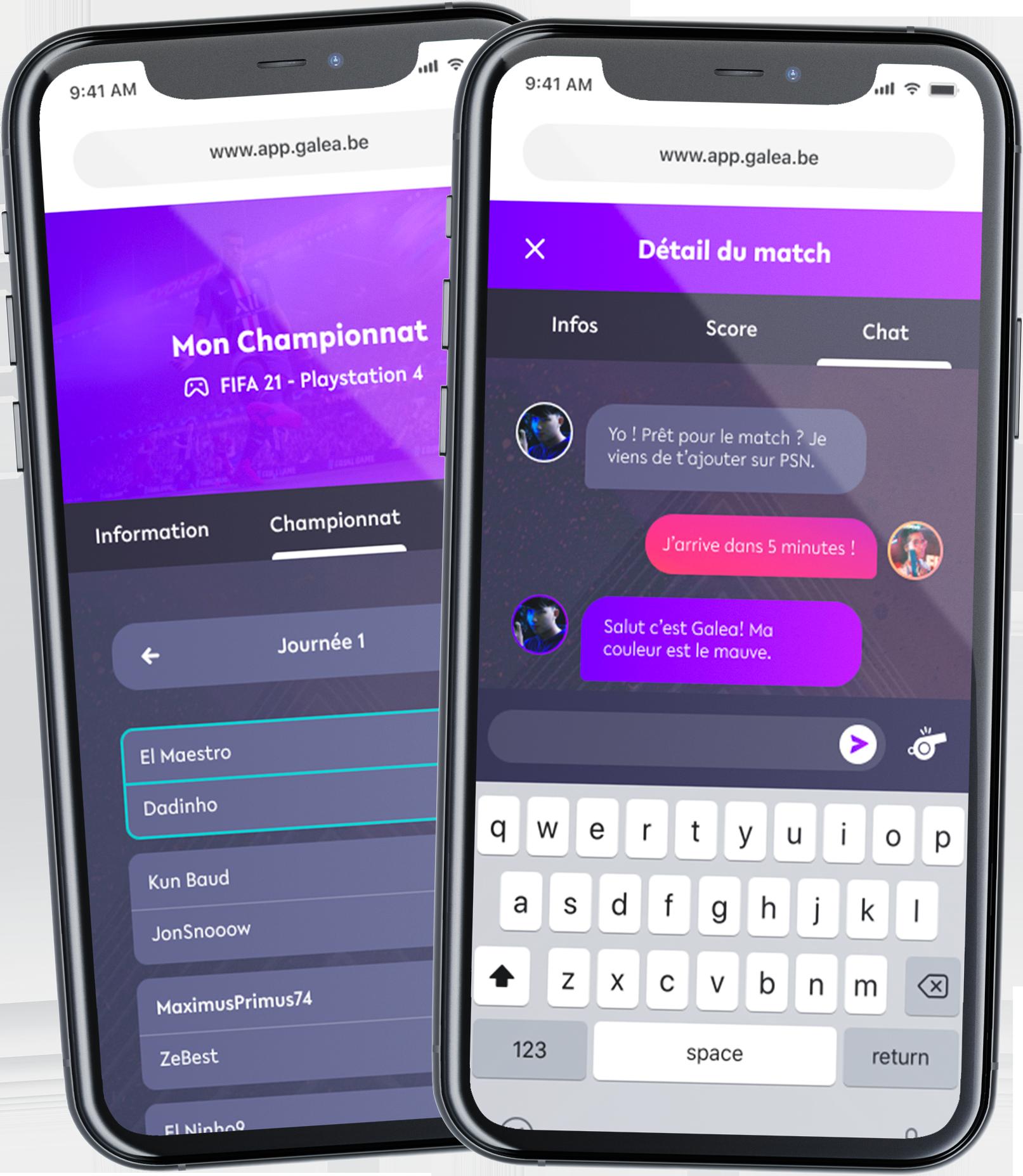 écran de téléphone sur l'application Galea, section chat et championnat
