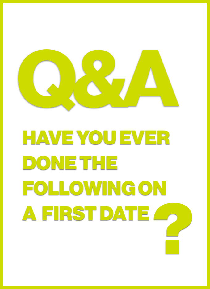 Q&A: Have you ever done the following on a first date?