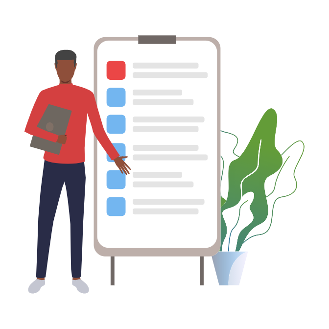 Illustration of a person standing in front of a large checklist.