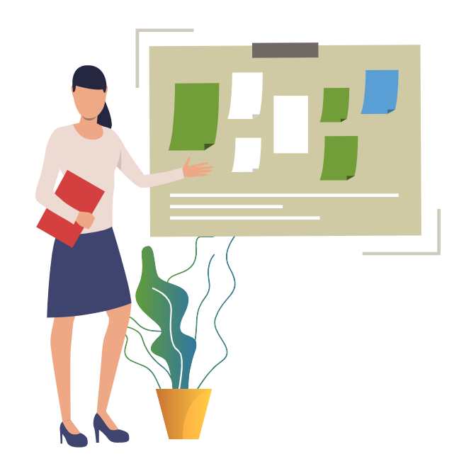 Illustration of a lady standing in front of a bulletin board.