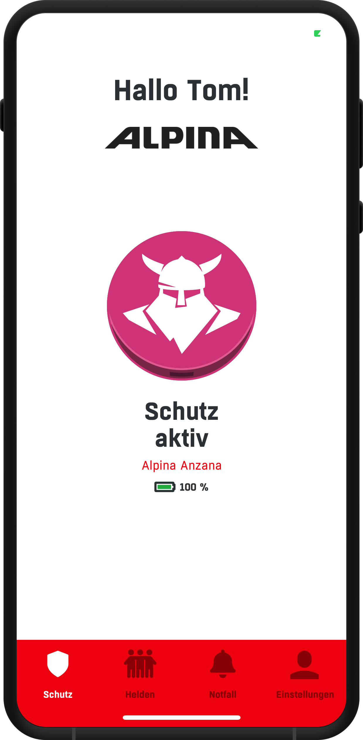 Smartphone Screenshot von Alpina App Design