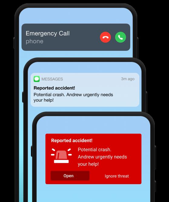 3 Smartphones mit Empfang verschiedener Nachrichten