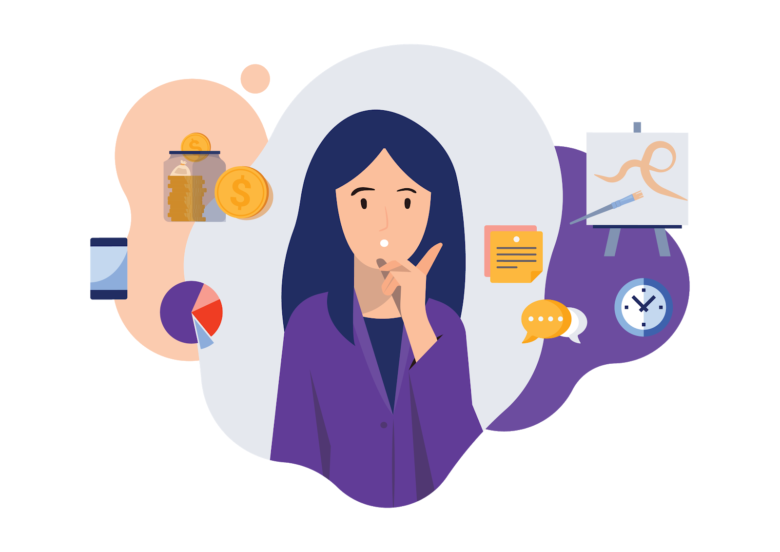 Illustration of digital marketer with multiple interests and professional commitments