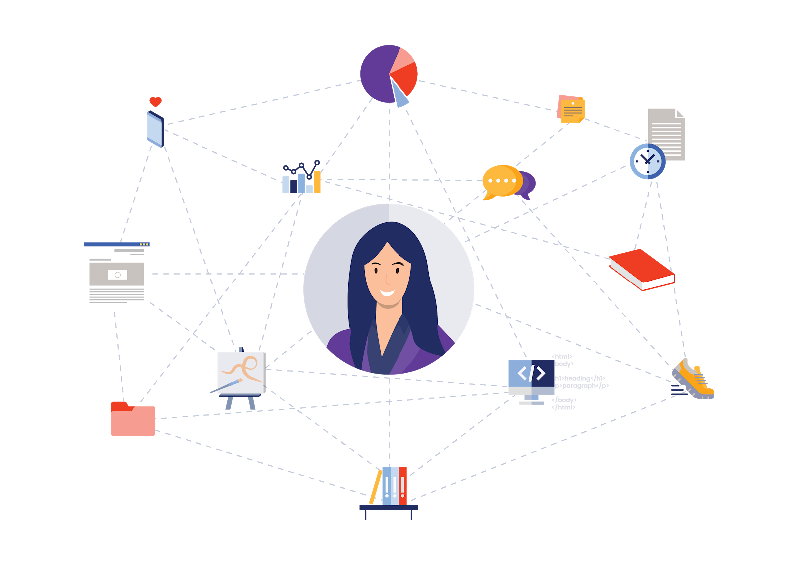 Illustration of woman with all interests and professional commitments organised using MyHaven