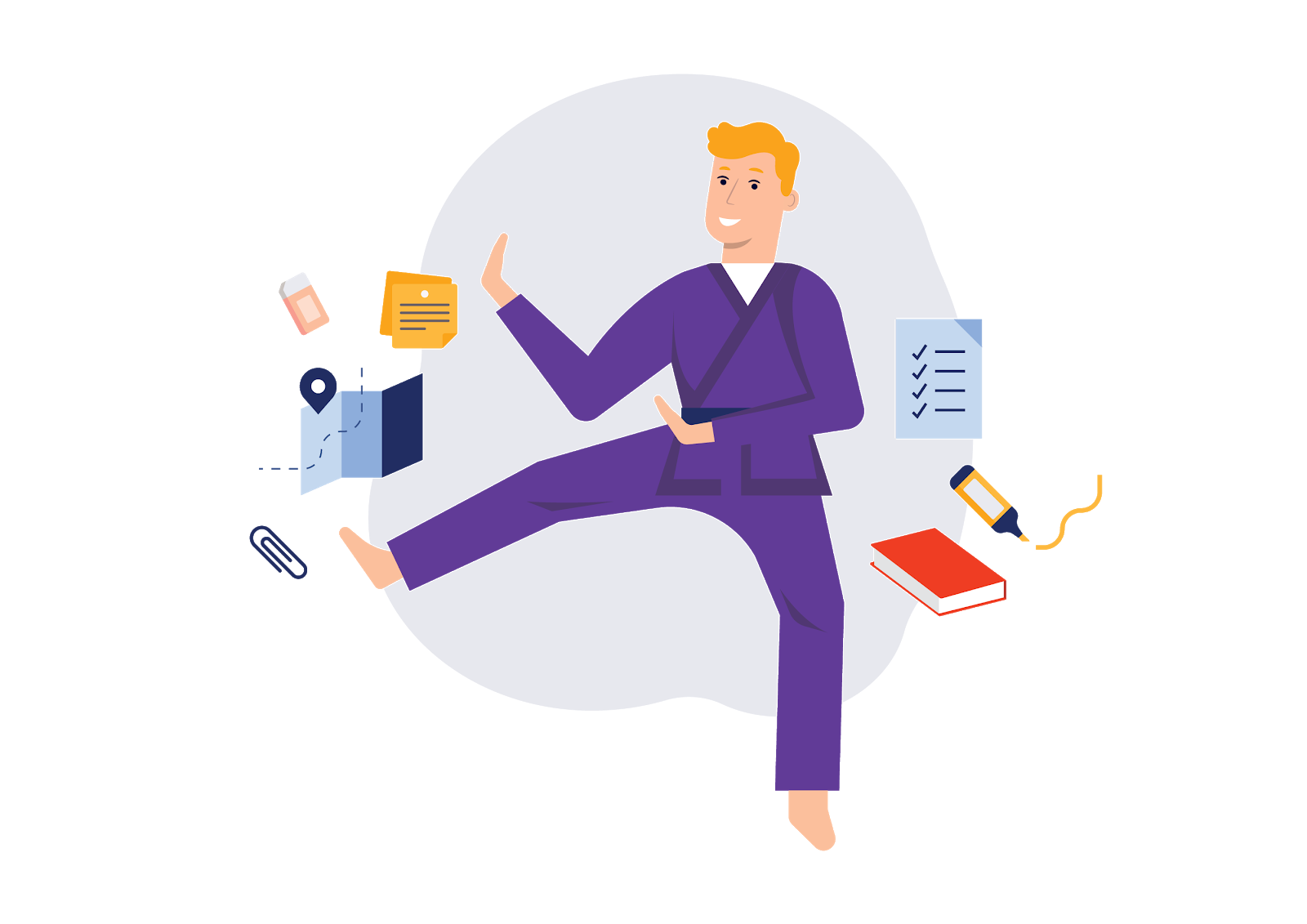 Illustration of a teacher who balances a busy workload with personal interests