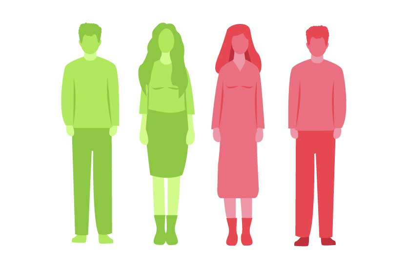 This is an illustration of four people standing next to each other