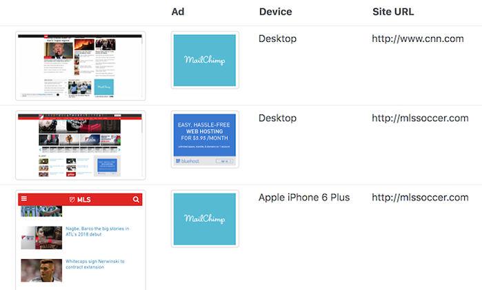Ad screenshots