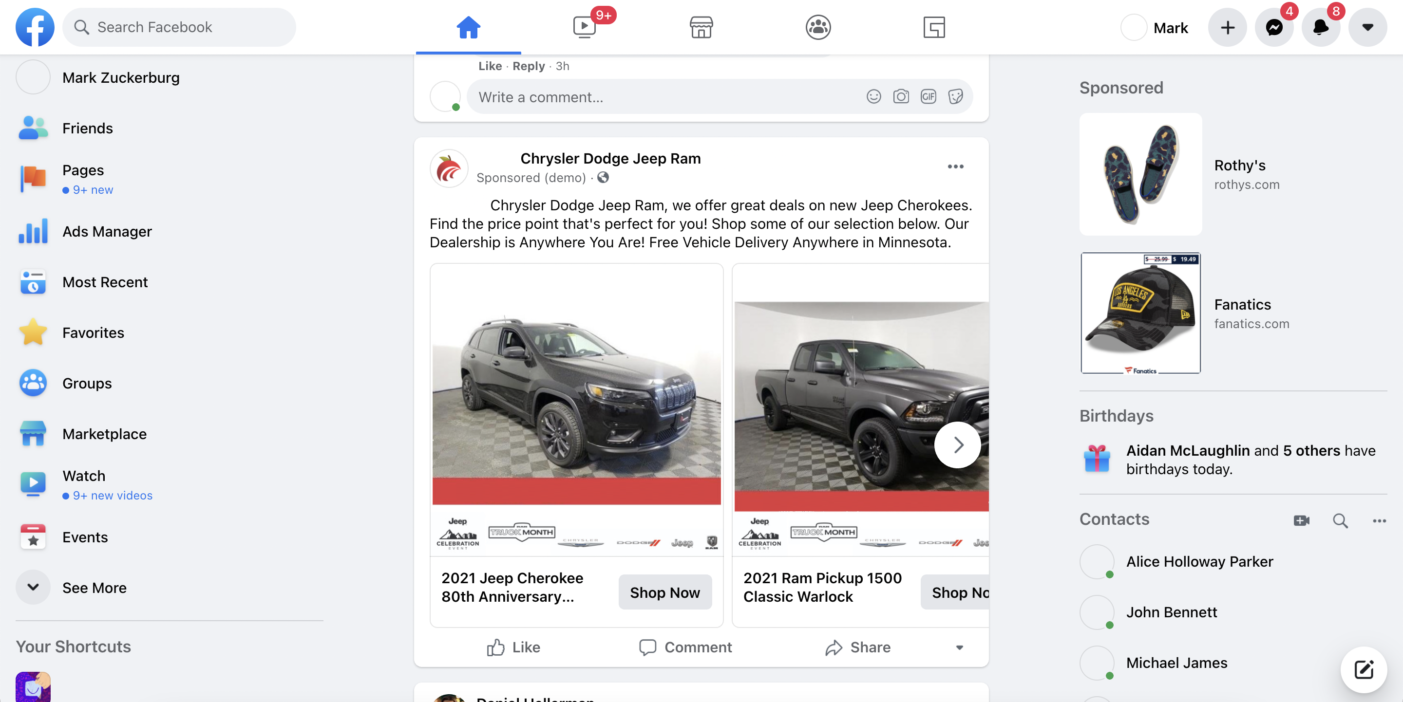 An automotive co-op screenshot on Facebook that's needed to file a claim for reimbursement of OEM advertising dollars