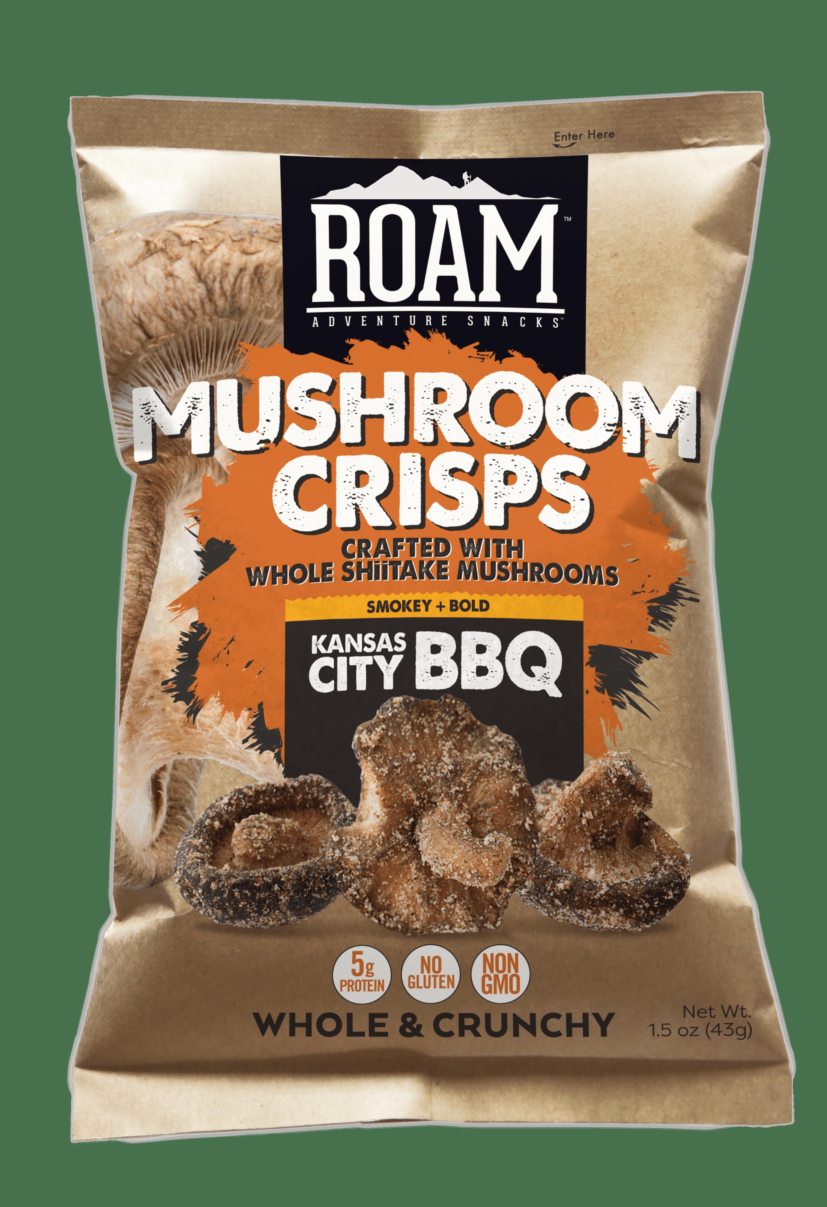 Bag of ROAM bbq mushroom crisps snack