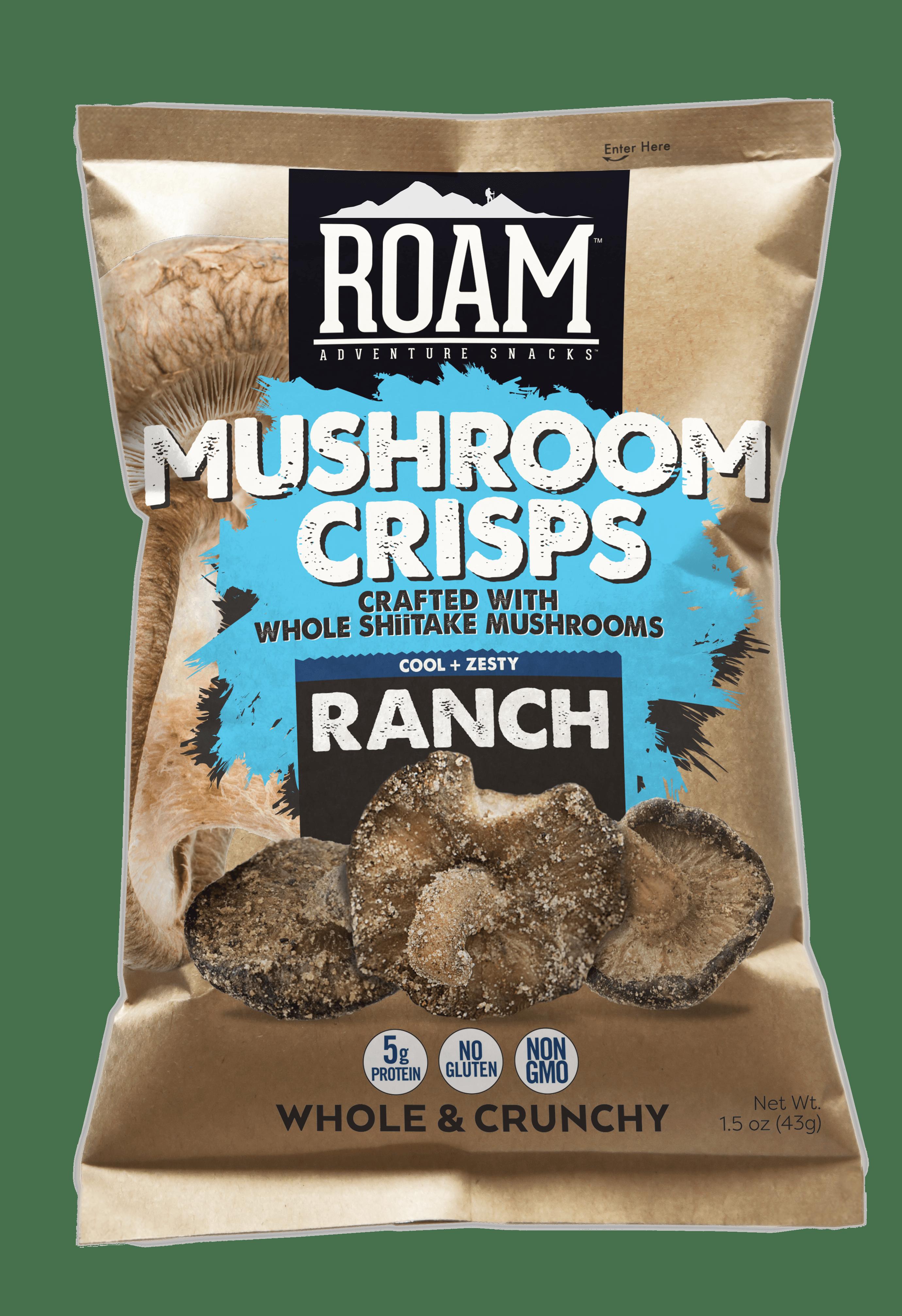Bag of ROAM ranch mushroom crisps snack