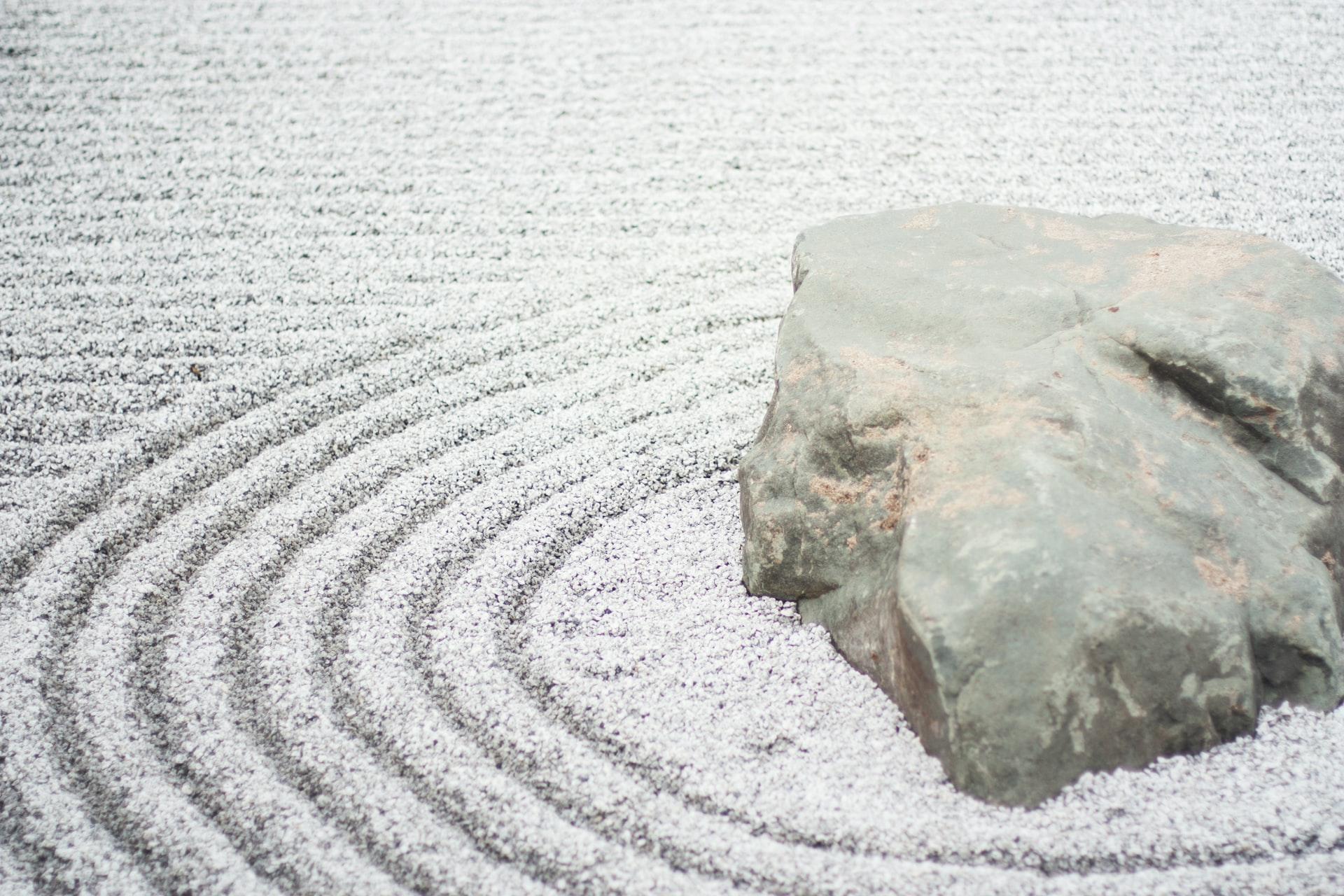 raked sand in Zen garden
