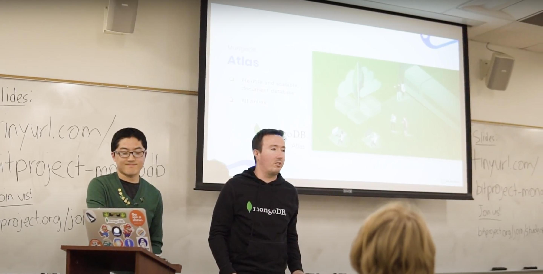 Bit Project student developer and MongoDB mentor leading workshop