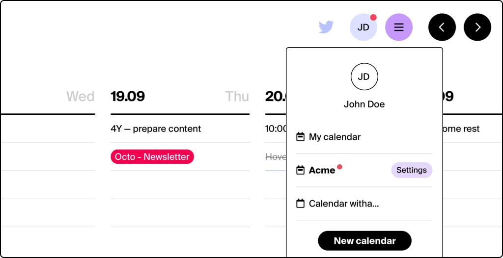 Tweek Unlimited calendars