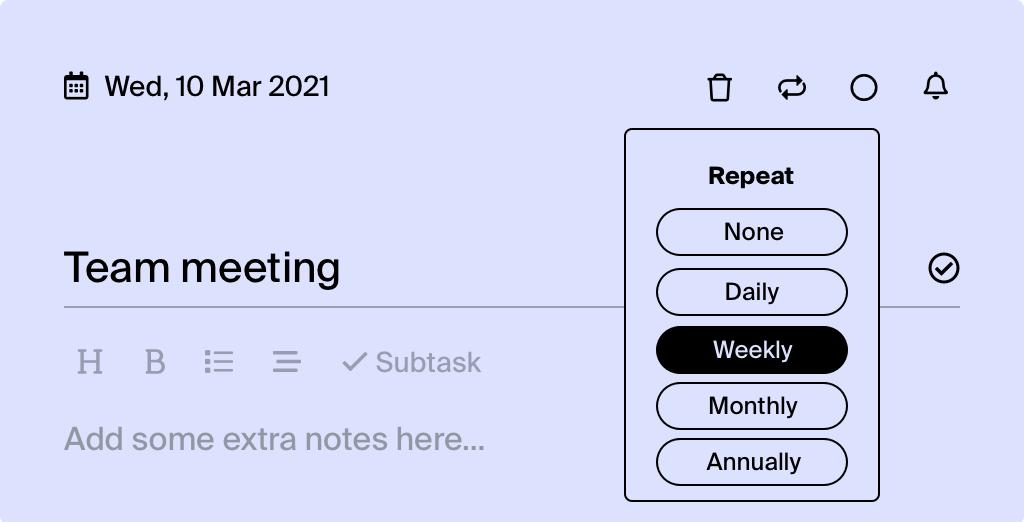 Tweek Recurring tasks