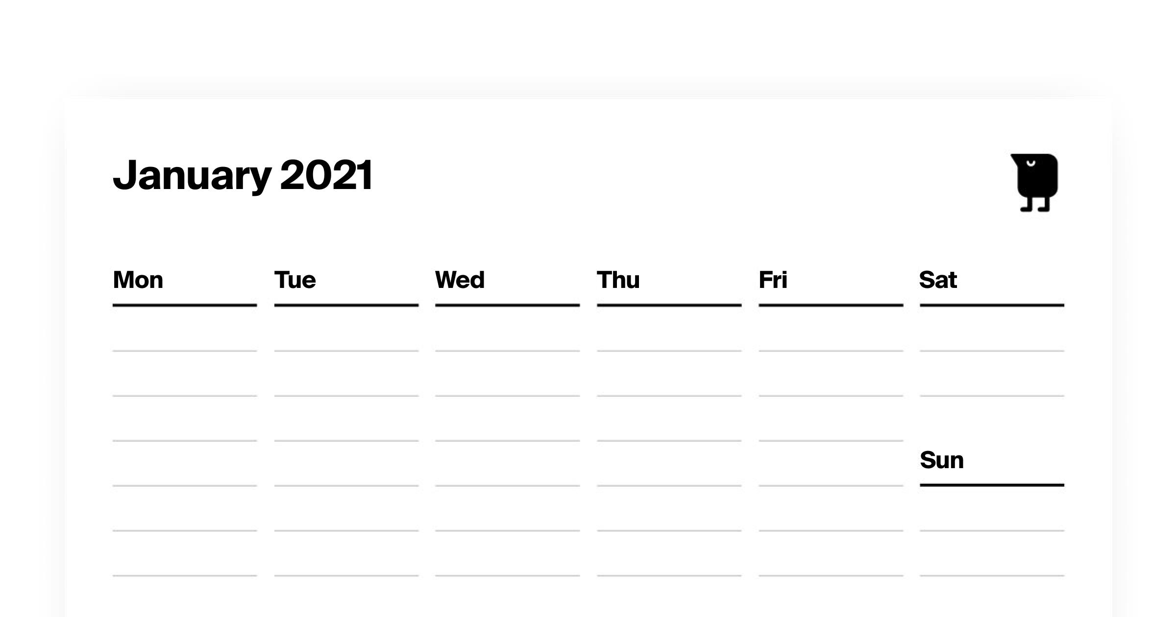 Tweek Calendar. Printable Weekly Planner Template PDF