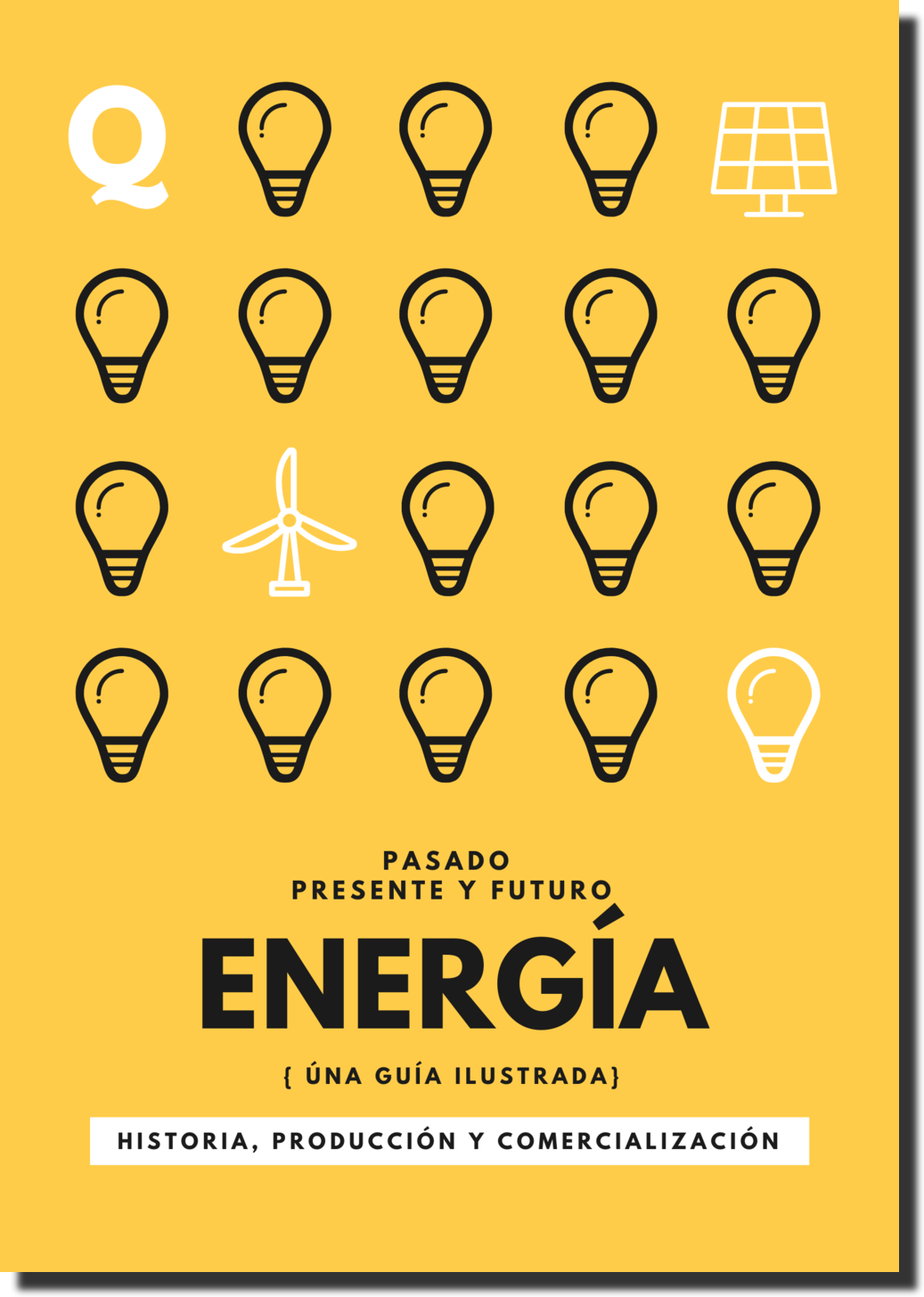 Ebook cover with bulbs, solar panels and a wind turbine.