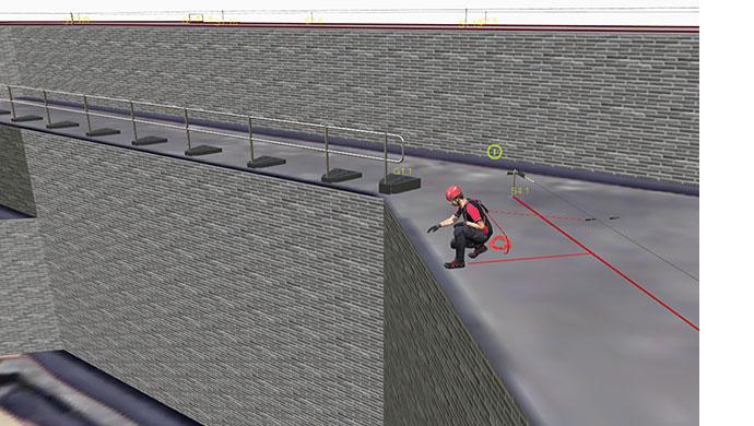 Auf dem Screenshot einer mit Draw erstellten Planungsskizze kniet ein Arbeiter an der Absturzkante.