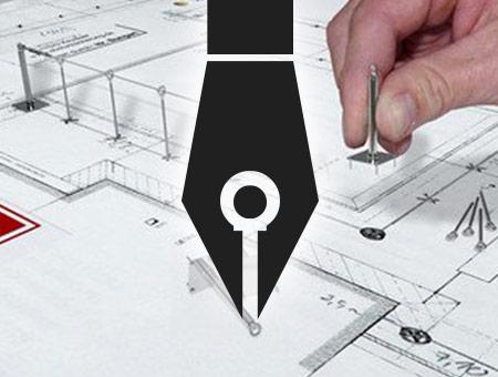 Das neue Draw Logo wird über einem Plan dargestellt, auf dem eine Person manuell eine Absturzsicherung plant.