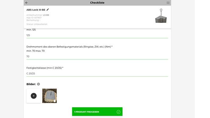 Screenshot Checklisten-Fragenkatalog zur DGUV konformen Dokumentation mit Lock Book Docu