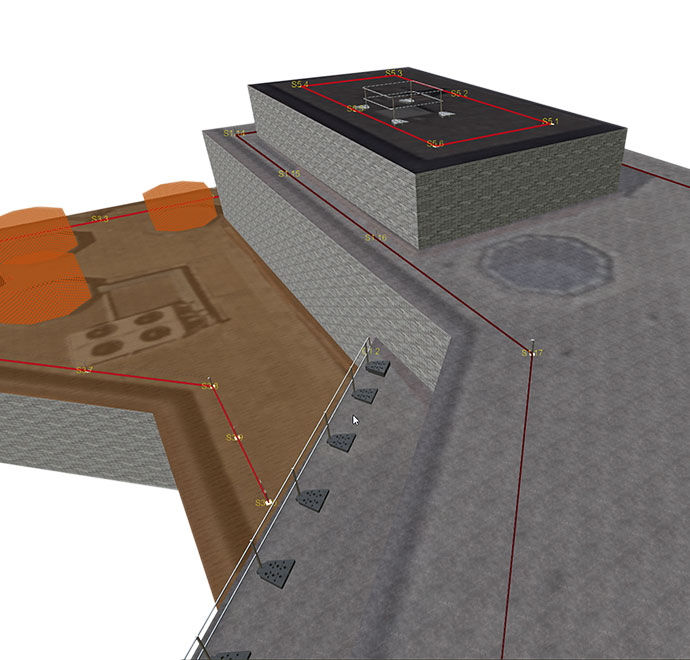 Auf der mit Draw erstellten Planung ist ein Dach mit mehreren Ebenen und diverse Seilsicherungssysteme sind eingezeichnet.