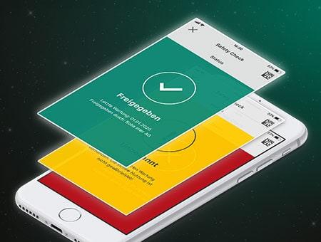 Über dem iPhone schweben zwei weitere Displayansichten, die die Handyscreens mit den verschiedenen Statusanzeigen darstellen.