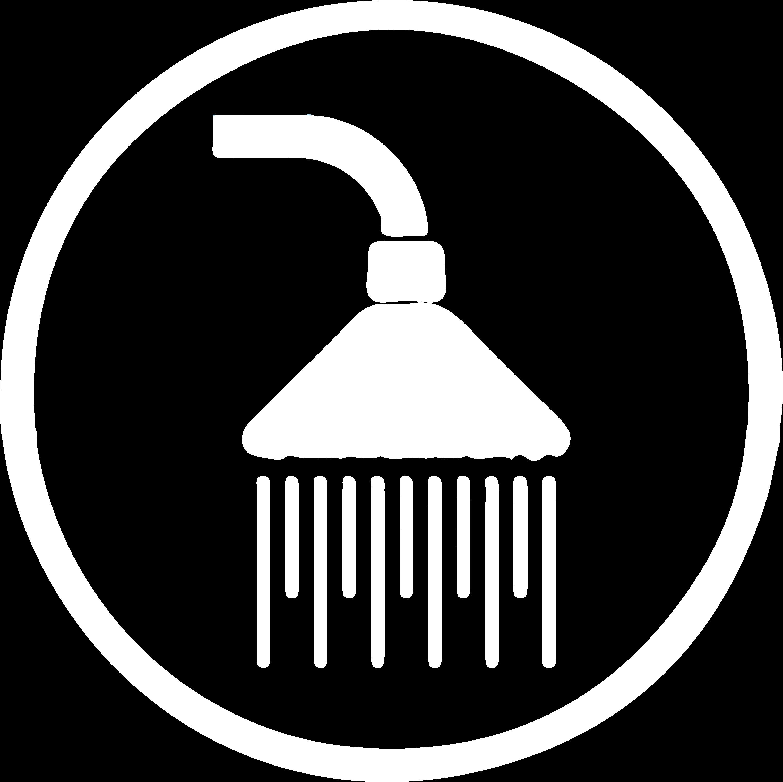 Icoon Badkamerproducten - wit silhouette van een douchekop