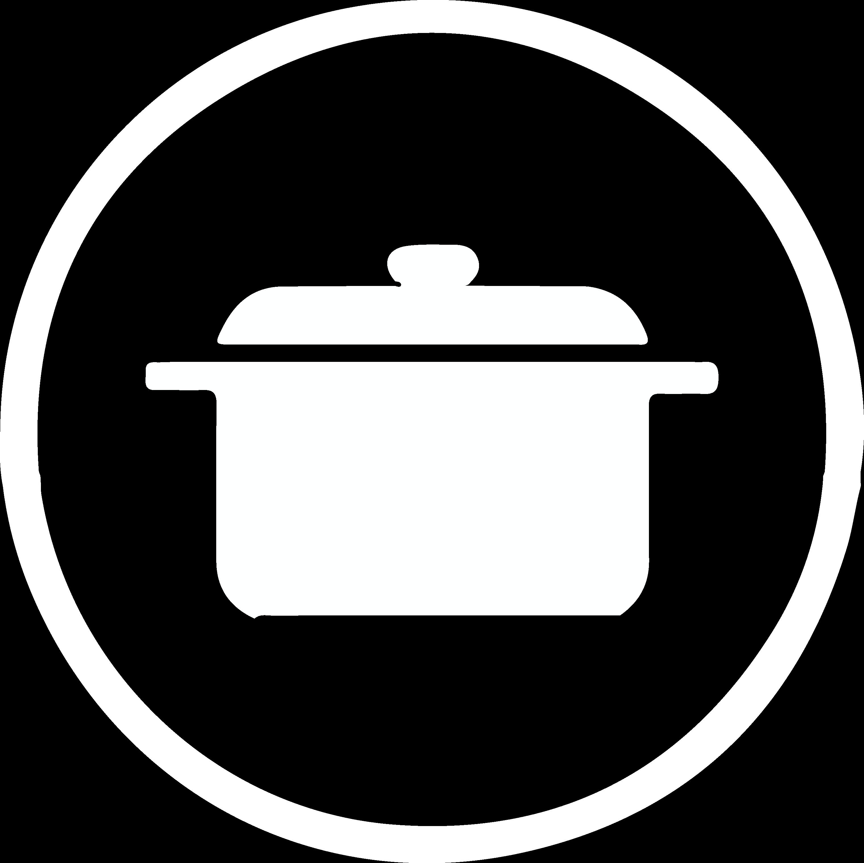 Icoon keukenproducten - wit silhouette van een stoofpot