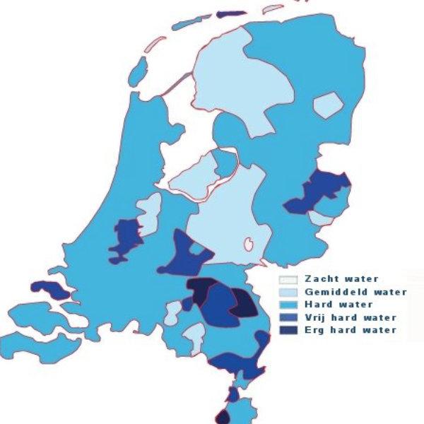 Een overzicht van Nederlands waarin je de waterhardheid per provincie kan bekijken