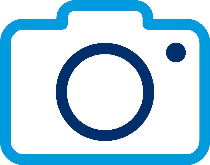 Een blauw icoon van een camera