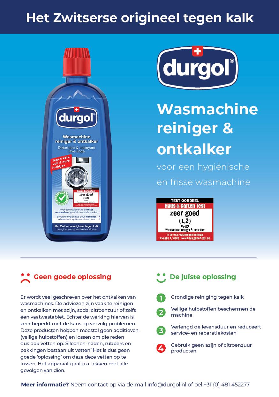 De durgol flyer: Wasmachine reiniger & ontkalker