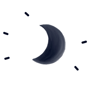 icon of moon with rays of lights