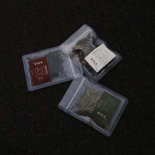 three samples loose-leaf tea bags in black