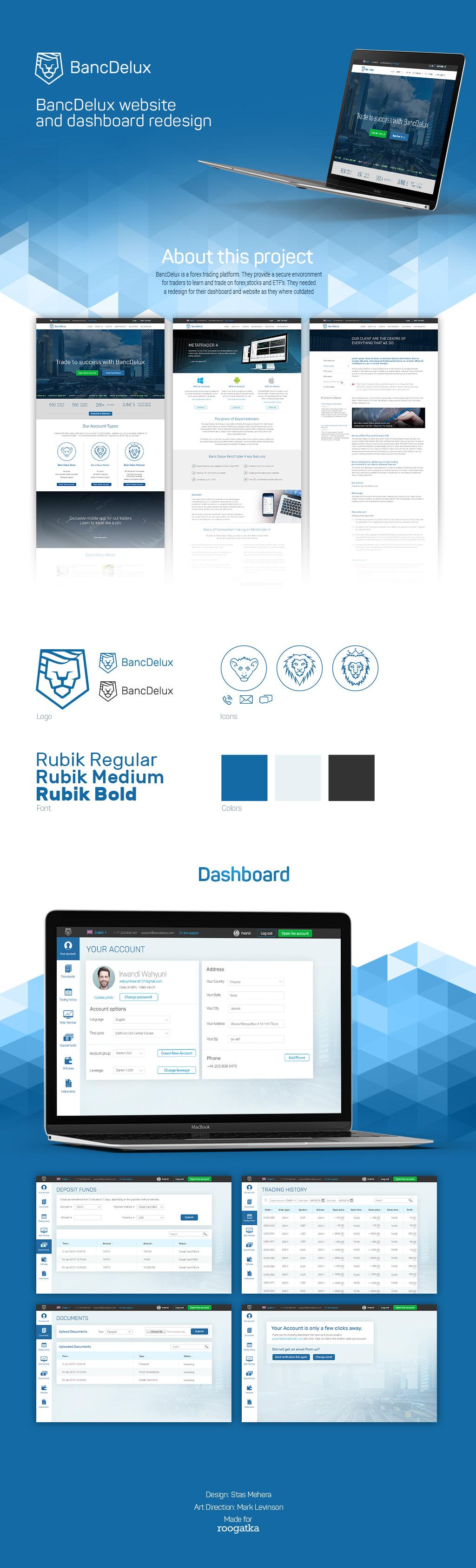 Banc Delux Trading platform UX/UI and website design for a Forex broker
