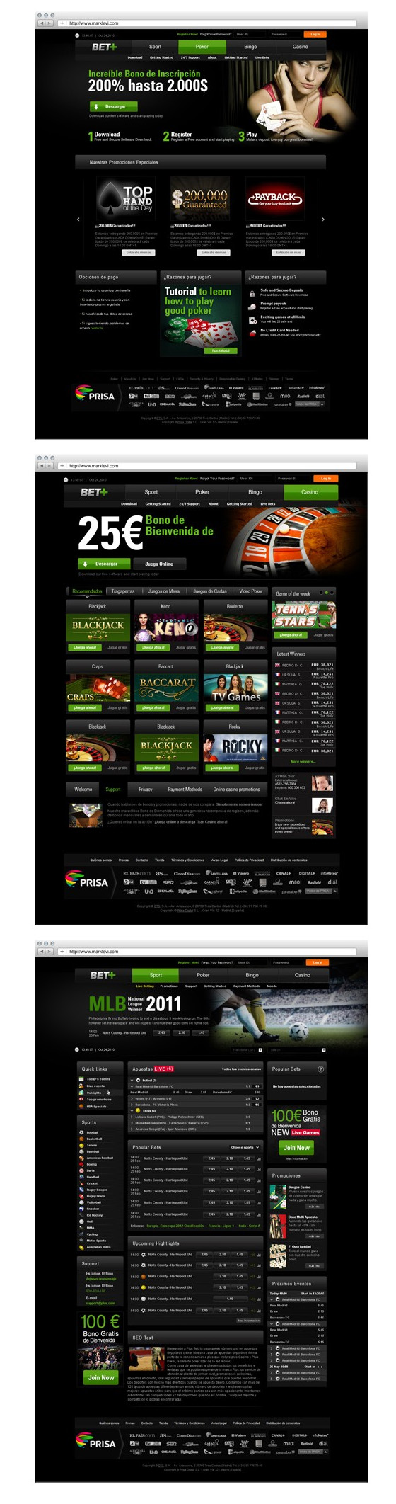 BET+ Web design and logo for BET+ betting platform