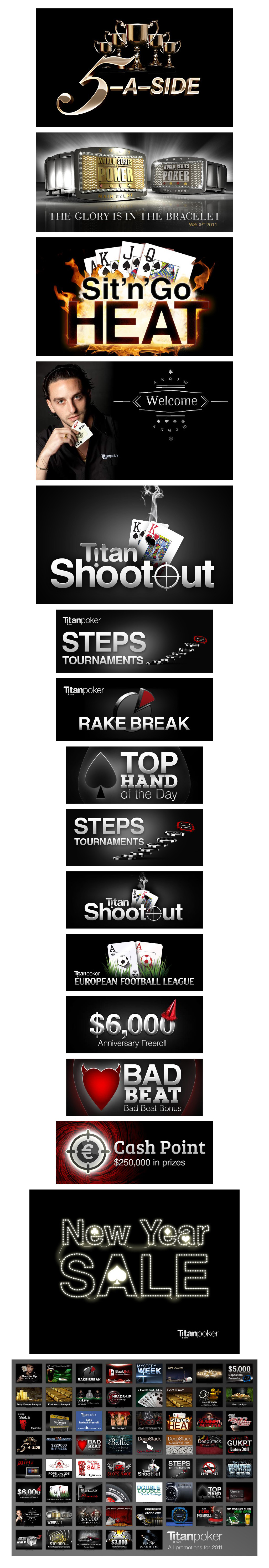 Titan Ad campaigns Advertisement capmpaign graphics for Titan Poker and Titan Bet