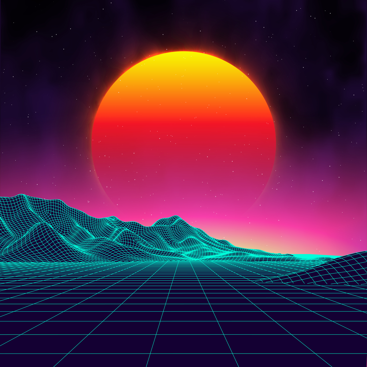 A gradient sun sets over a neon grid field.