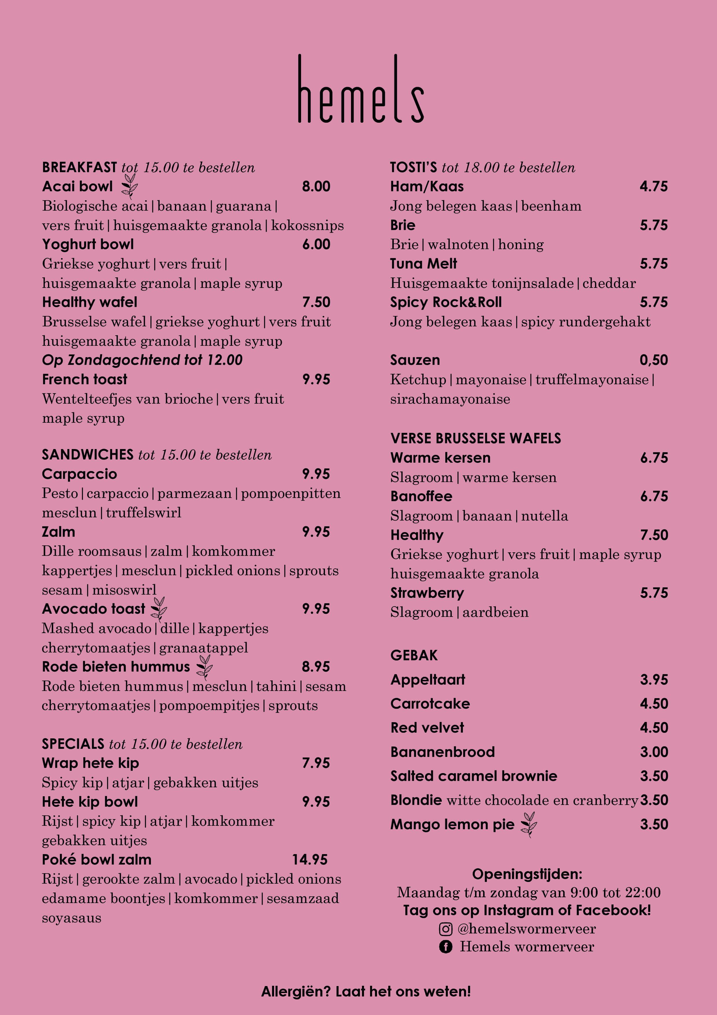 Hemels menu