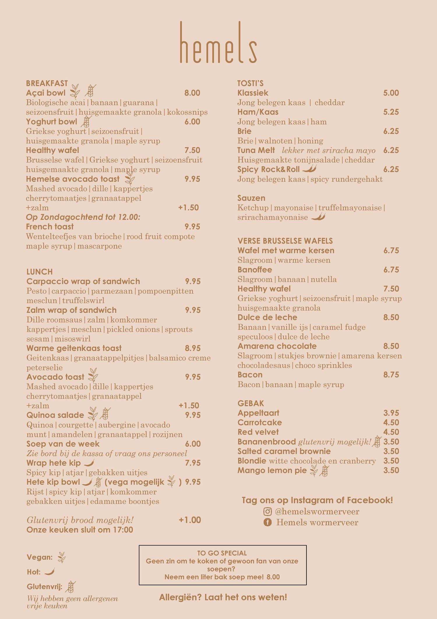 Hemels menu eten