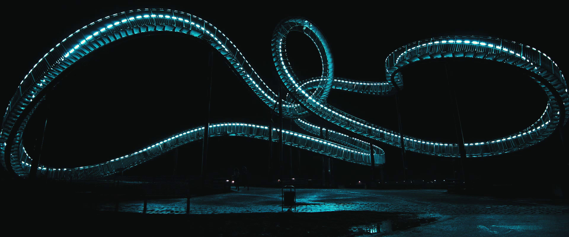 a futuristic elevated walking path twist and loops in the night