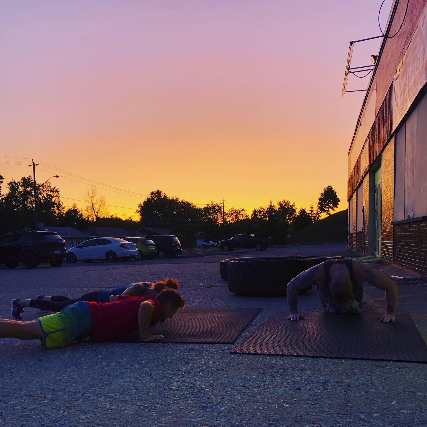 Outside class with a sunset