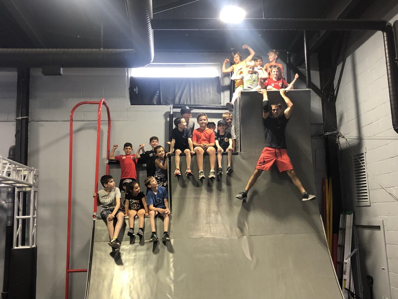 Kids on the warp wall