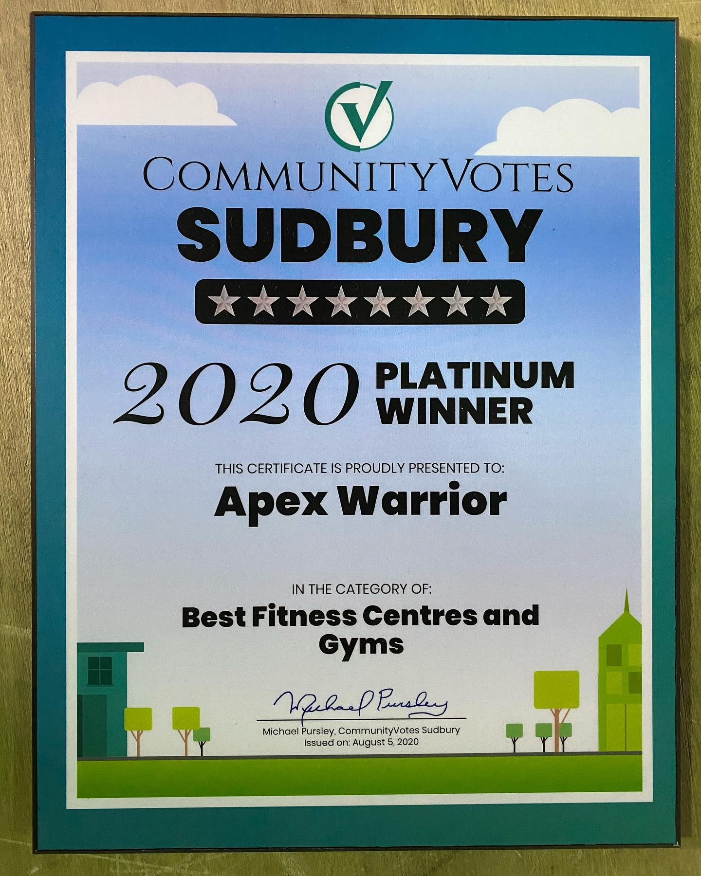 Certificate showing Apex Warrior won best fitness centre and gym in Sudbury in 2020