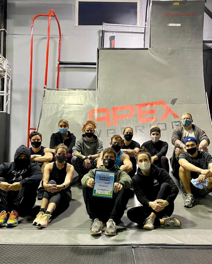 Apex Warrior Gym members holding up the certificate for best Gym in Sudbury for 2020