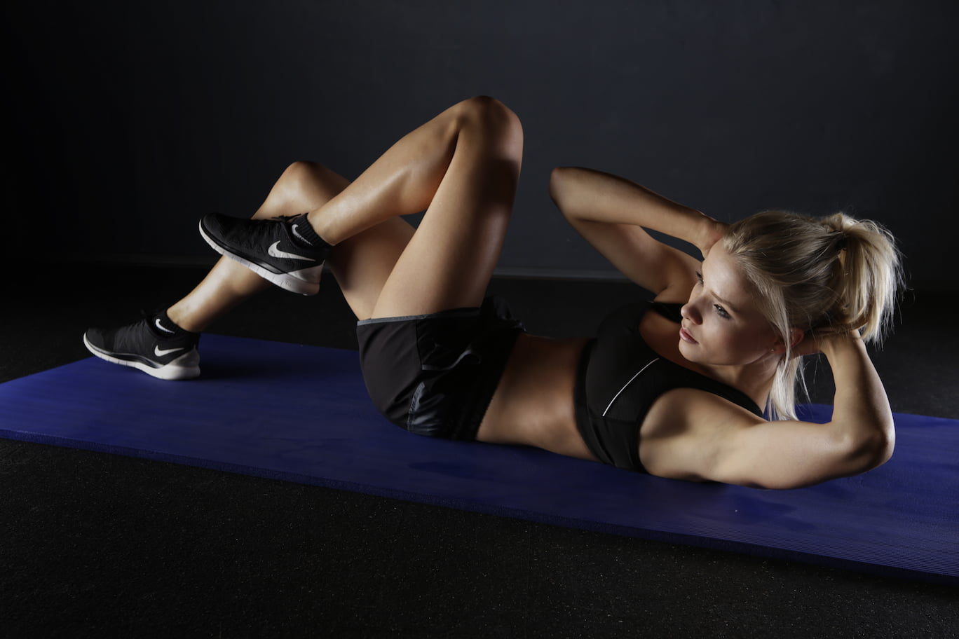 Woman doing a workout from her home