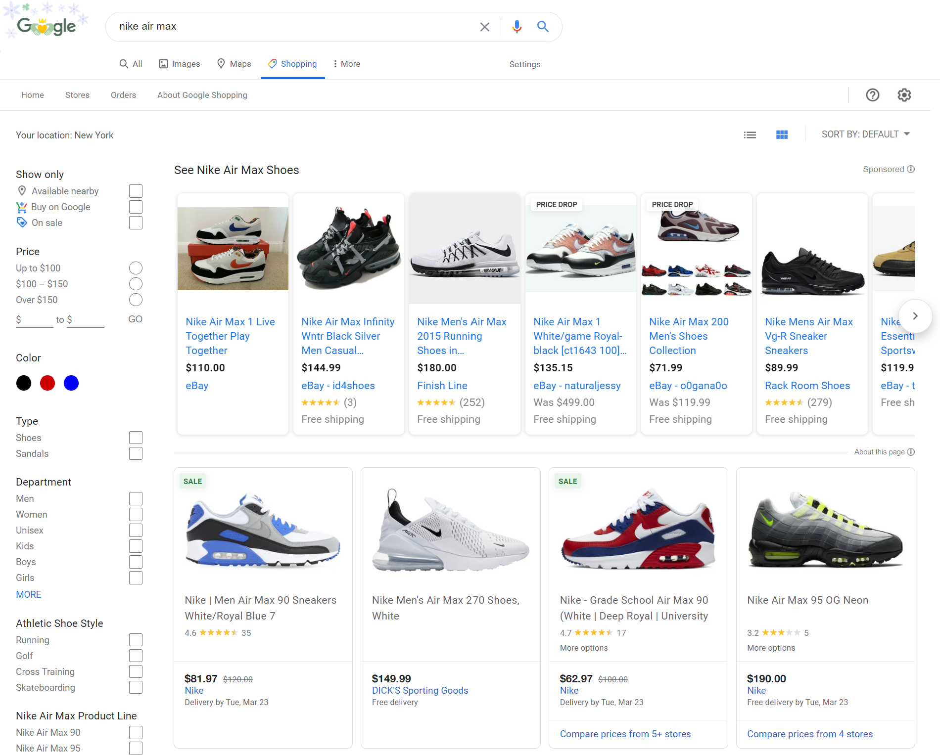 screenshot of google's shopping tab